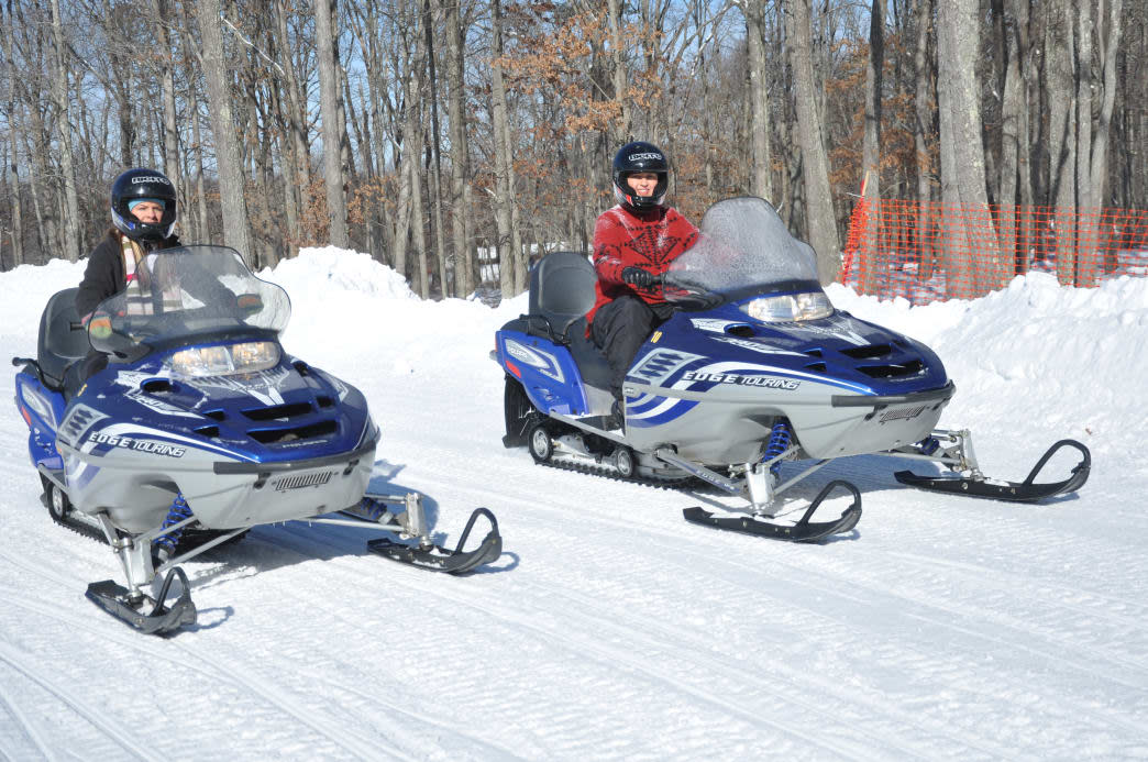 Snowmobiling through the winter landscape in the Poconos