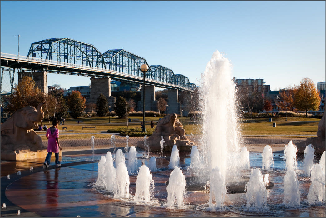 Coolidge Park features a sprinkler-like fountain for kids to enjoy.