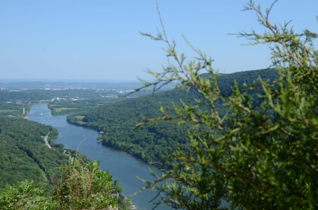 Enjoying the views looking towards Chattanooga from Edwards Point.