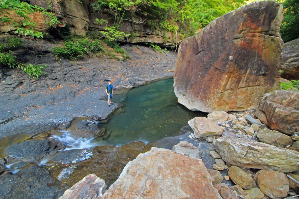 Find perfect places for a dip along Suck Creek.