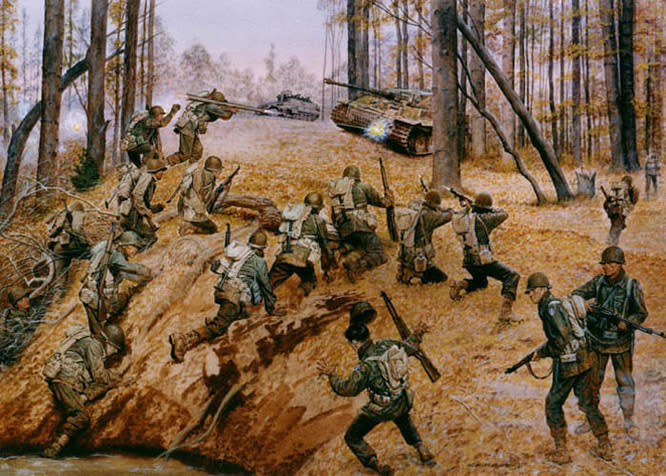 """Go for Broke!"" a painting in the collection of the Army Center of Military History, Fort McNair, Washington, D.C., depicts the all-Japanese American 442nd Regimental Combat Team assaulting German siege forces in the rescue of ""The Lost Battalion,"" Oct. 27-30, 1944. U.S. Army Photo. (U.S. Army Photo.)"