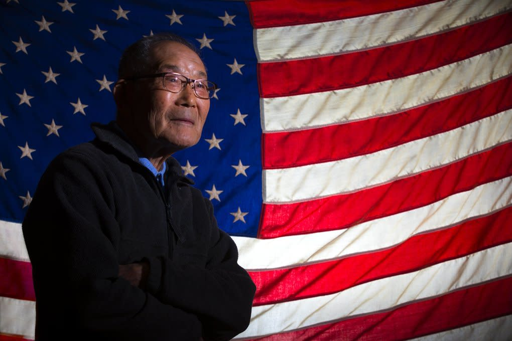 Even though Hal Seike, 90, of SeaTac and the rest of his family were sent to internment camps during WWII, Hal and his two brothers, Ben and Toll, served in the military and were all veterans. (Ellen M. Banner/The Seattle Times)