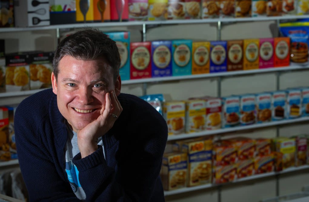 """Andy Heily, Continental Mills CEO, says the company still carries a Krusteaz pie-crust mix for sale. It's not exactly on their list of most popular products, but it's a nod to their history. """"If it wasn't part of our heritage, we'd probably discontinue it,"""" Andy says. """"But who's going to be that person? Not me."""" (Ellen M. Banner / The Seattle Times)"""