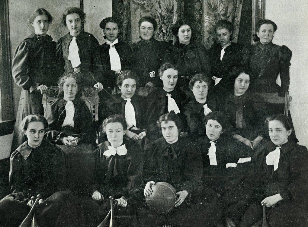 """Pictured here (top row, fourth from left) in a photo from the 1899 WSU yearbook, """"The Chinook,"""" Rose Gilbreath Charters created the first Krusteaz pie-crust mix recipe in 1932 and co-founded Continental Mills with her husband, James Charters. Rose Charters grew up in Dayton, in Columbia County, and attended Washington State University back when it was known as Washington Agricultural College.  (Photo courtesy /Washington State University)"""
