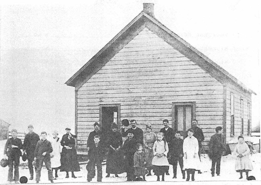 In this photo taken in 1893, Rose Gilbreath (fifth from left) is pictured next to her siblings Lee, Joe, Charles and Sue (left to right) in front of the schoolhouse they attended in Dayton, Columbia County. Their father, Samuel Love Gilbreath, was one of the pioneering settlers in Columbia County.  Rose was the ninth of 13 children. (Courtesy of John Hutchens)