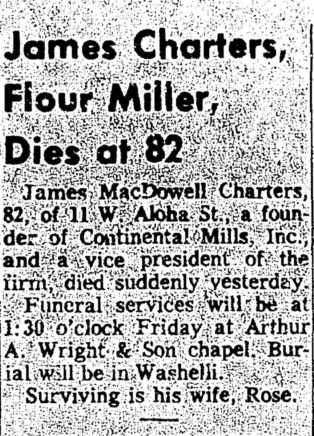 James MacDowell Charters died in March 1964, at age 82. His obituary appeared in the April 1, 1964, edition of The Seattle Times, and it was useful in identifying the first name of his wife, Rose Gilbreath Charters, the woman whose pie-crust recipe was used to start Krusteaz and Continental Mills. (The Seattle Times archive)