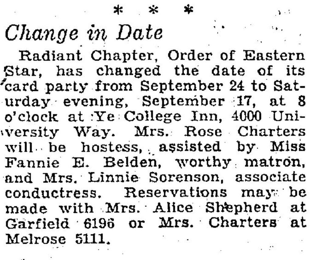 """Rose Charters was a member of the Radiant Chapter: Order of Eastern Star, and as this brief from the Sept. 14, 1932, edition of The Seattle Daily Times shows, this group of women would sometimes gather to play cards. But was this the """"bridge club"""" of the Krusteaz origin story? We might never know. (The Seattle Daily Times archive)"""
