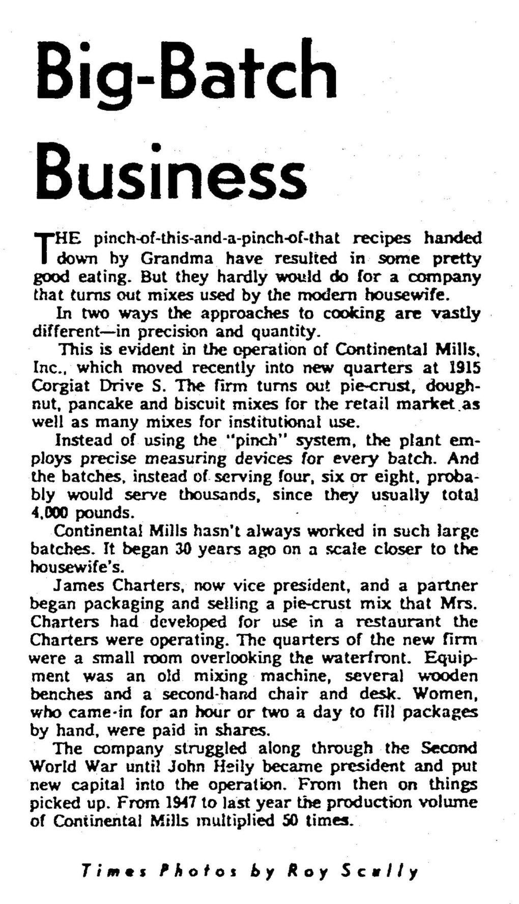 """Continental Mills was featured in a story in the Jan. 13, 1963, edition of The Seattle Times. The story references """"Mrs Charters"""" but never states her first name, which wasn't unusual for the time, and describes how Rose Charters' pie-crust mix was originally developed for use in a restaurant operated by the Charterses. (The Seattle Times archive)"""