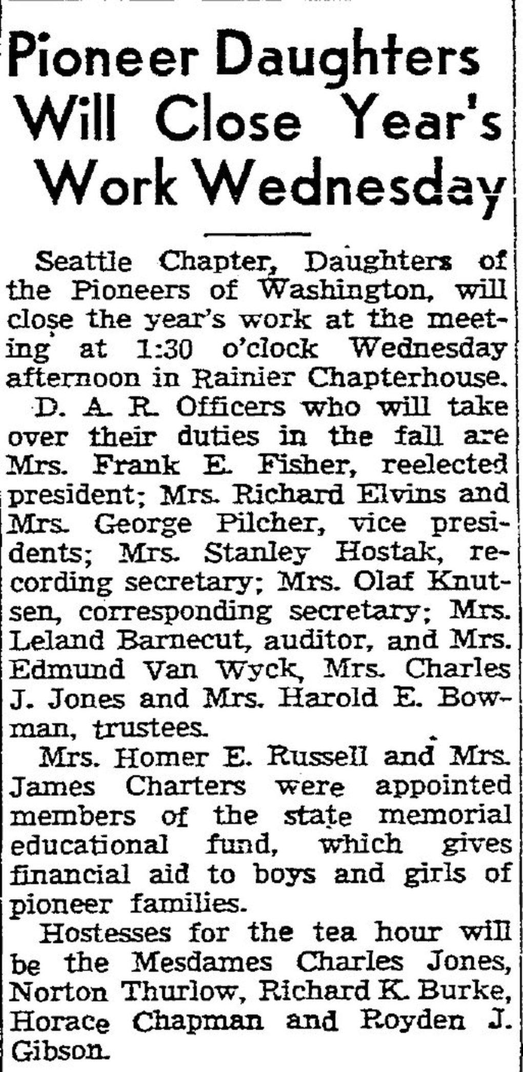 """Rose Gilbreath Charters was an active member in the Seattle chapter of the Daughters of the Pioneers of Washington. Until the women's suffrage movement in the 1970s, married women were rarely referenced in news stories using their first names. Instead, as is shown in this news brief from the June 1, 1947, edition of The Seattle Times, Rose is listed as """"Mrs James Charters."""" (The Seattle Times archive)"""
