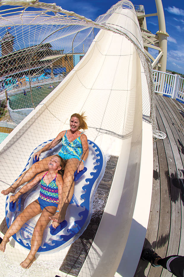Mother daughter sliding down the Sky Blaster at Schlitterbahn Corpus Christi