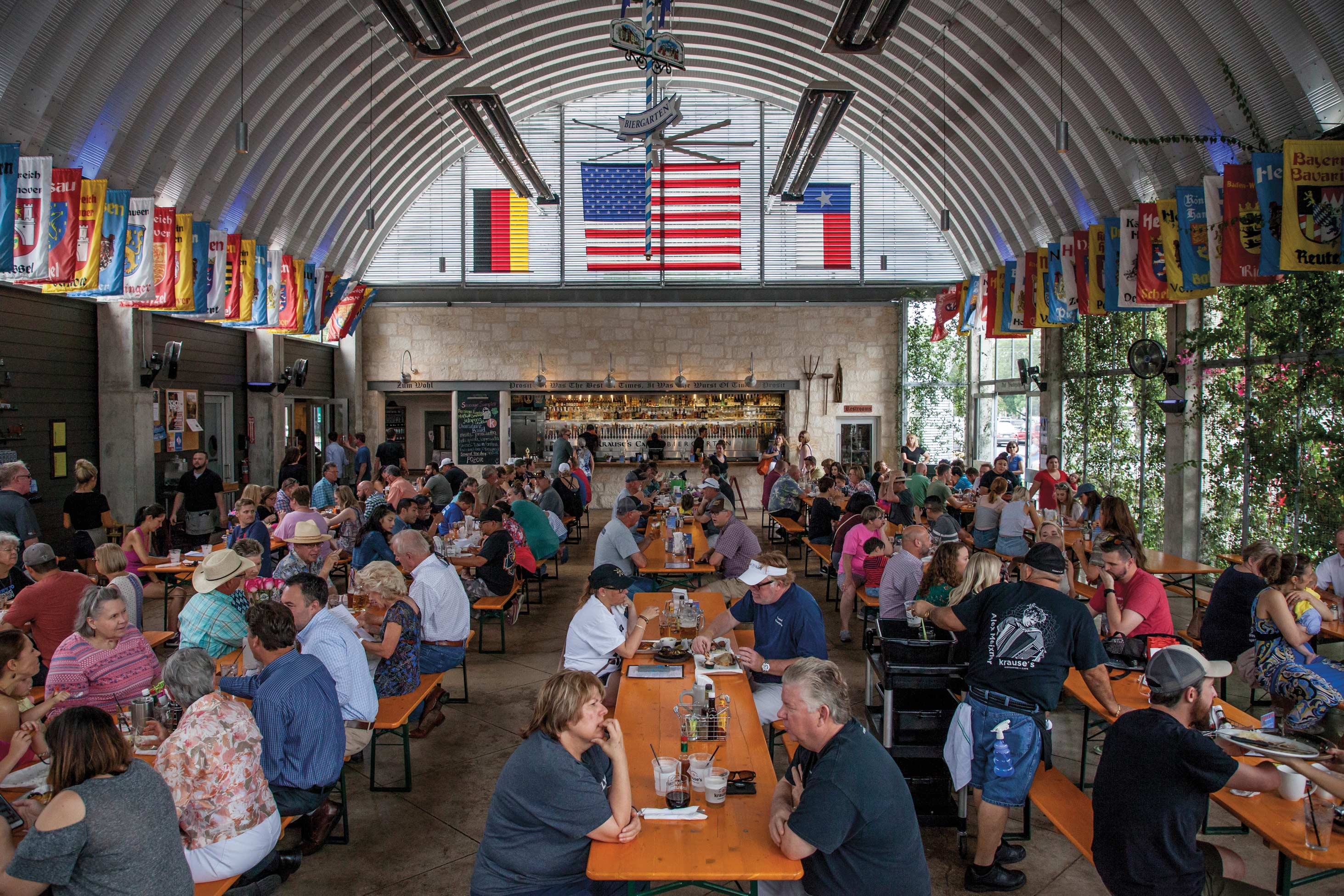 The beer hall is full on a busy day at Krause's Cafe