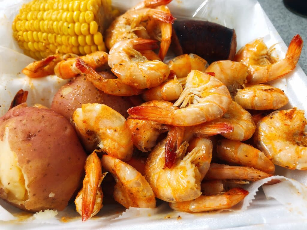 Shrimp meal at Bozo's Seafood Market and Deli.