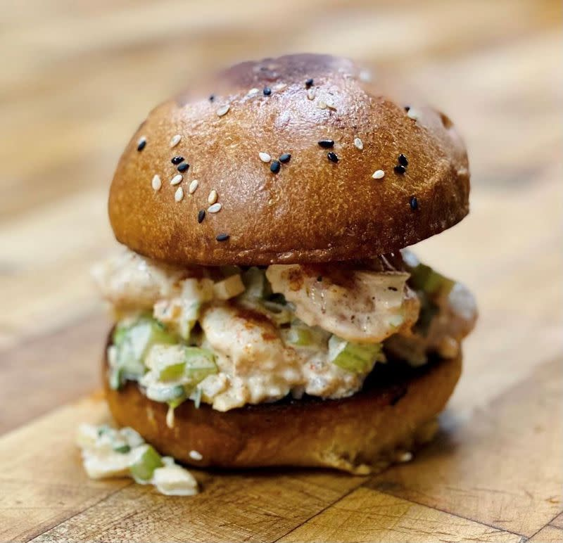 White Pillars' Shrimp Roll started with chef-owner Austin Sumrall's love of lobster rolls. At his Biloxi, Miss., restaurant, Gulf shrimp becomes the star. Courtesy of White Pillars