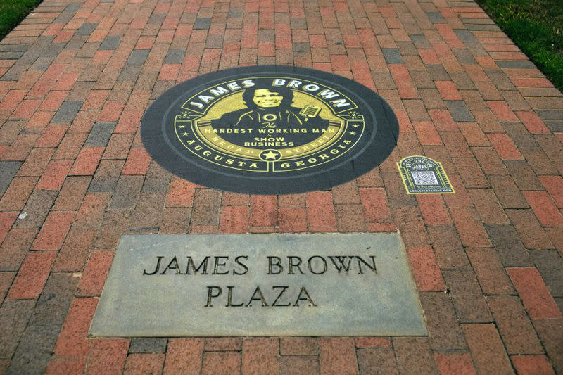 James Brown Journey Sidewalk Vinyl Tour marks 12 locations in Augusta that played a major role in the musician's life and career.  Courtesy of Kruhu.