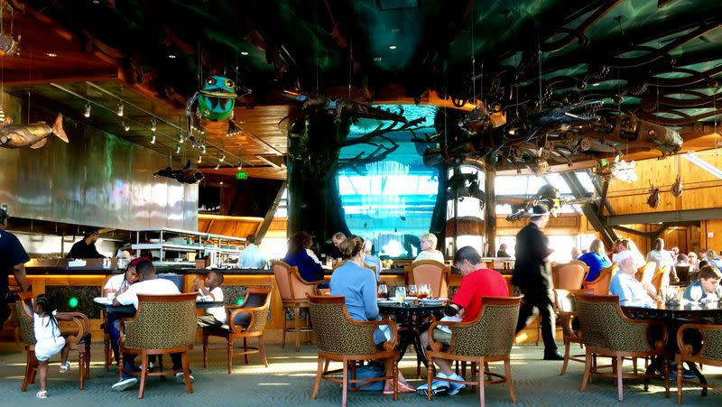 At the Big Cypress Lodge in Memphis, enjoy drinks and the view at The Lookout. The centerpiece of the room is a 10,000-gallon catfish aquarium. 