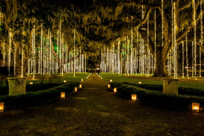 Brookgreen Gardens in Murrell's Inlet, South Carolina, stages the Nights of a Thousand Candles on its 9,000-acre grounds each holiday season.