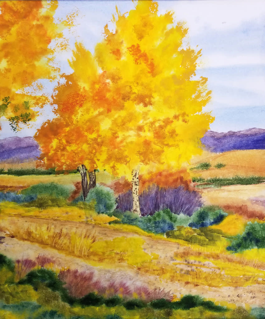 New Mexico Aspens in Autum by Roberta Parry