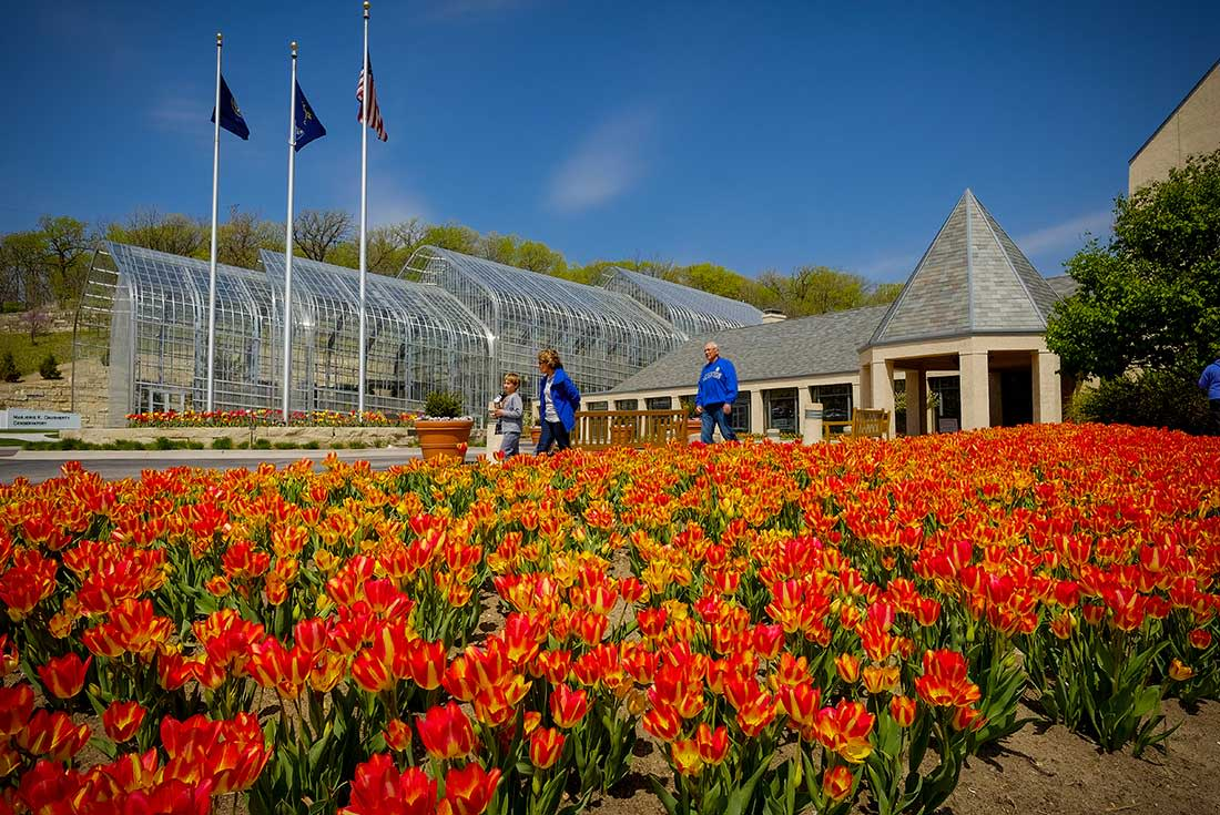 Visitors to at the Lauritzen Gardens in Omaha, Nebraska walk past a bed of red and yellow tulips