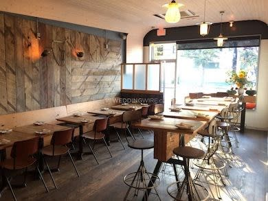 A view of the rustic dining room at Burdock & Co.