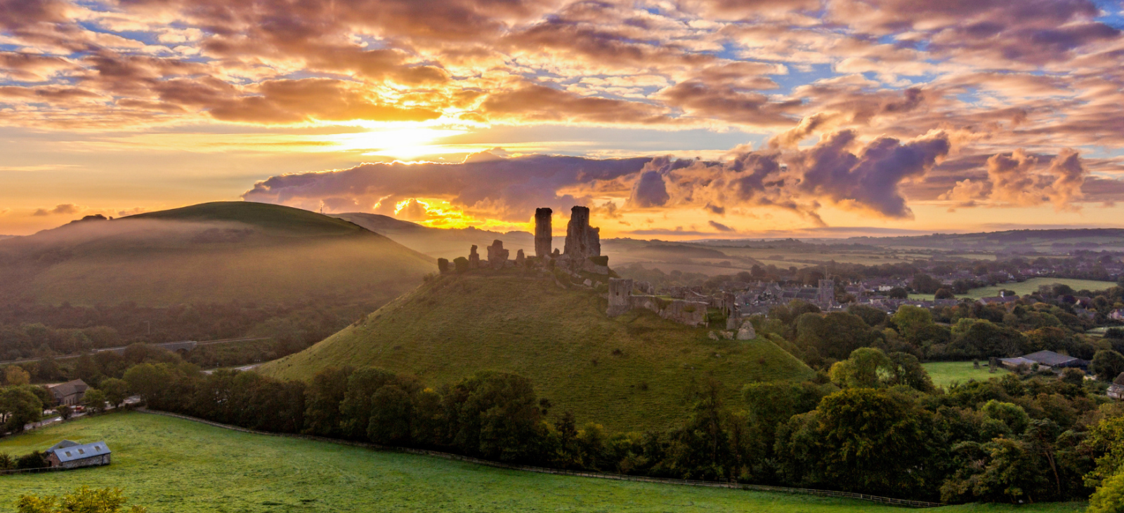 Sunset at Corfe Castle