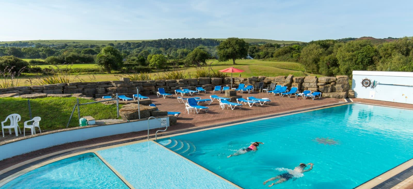 Outdoor swimming pool at Knoll House Hotel, Dorset