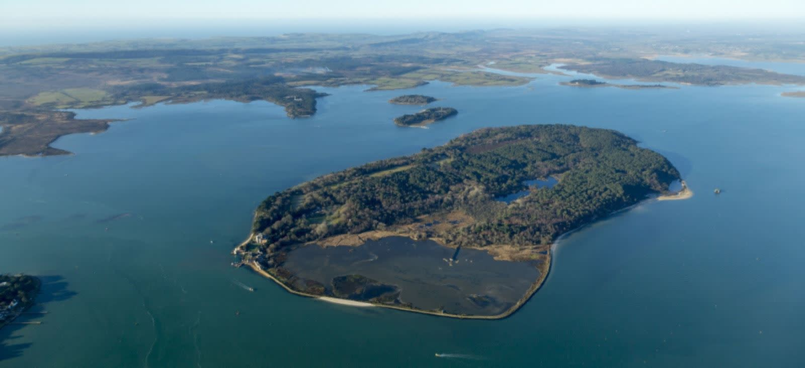 Brownsea Island, Dorset from the air - photo credit to National Trust Images and John Miller