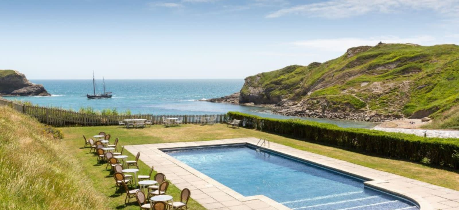 Outdoor swimming pool at Rudds of Lulworth, Dorset