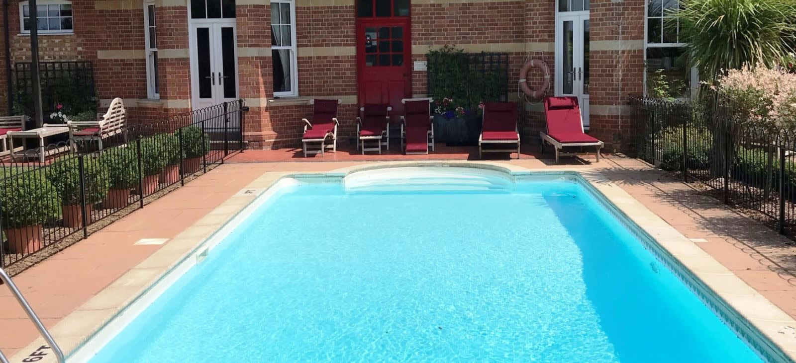 Outdoor swimming pool at The Dower House Hotel, Lyme Regis in Dorset