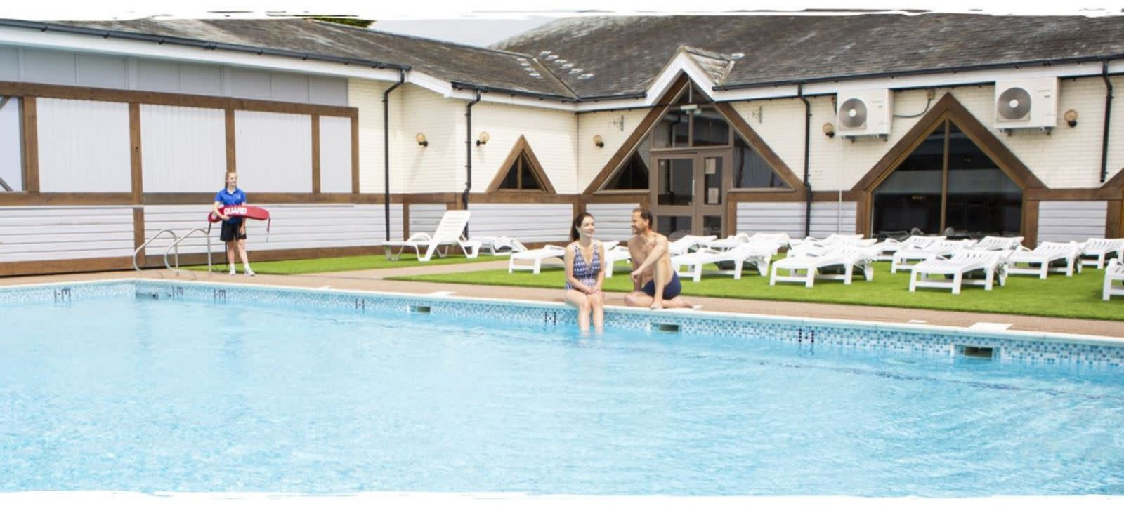 Outdoor swimming pool at Waterside Holiday Park, Dorset