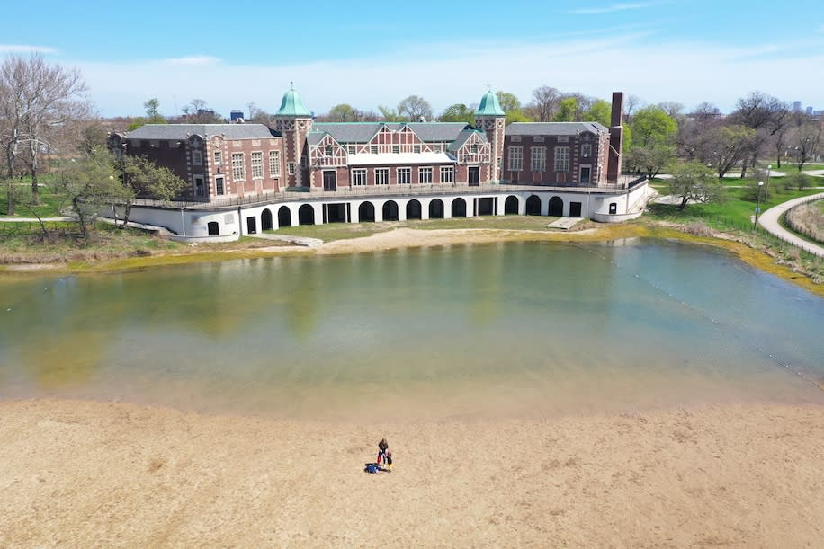 Chicago's Humboldt Park, which features lagoons connected by a prairie river, was mostly empty on a warm spring day in early May.