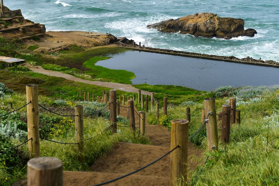 Lands End, in the northwestern corner of San Francisco, offers a windy cliff trail and stunning views of the shore.