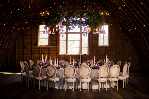 48 Fields Upper Level Wedding Reception in the Round with Floral Chandelier
