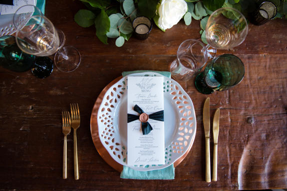 48 Fields Wedding Reception Table Setting Detail