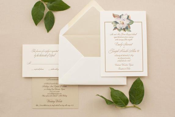 Magnolia Watercolor Wedding Invitation
