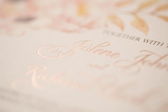 rose gold foil stamped wedding invitation