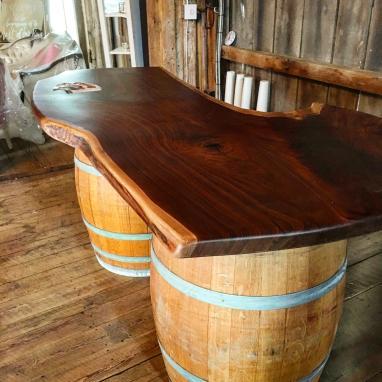 Live Edge Walnut Bar with Wine Barrel Base
