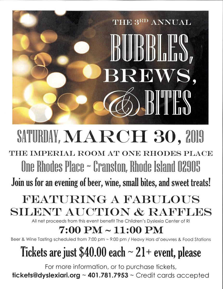 3rd Annual Bubbles, Brews, and Bites