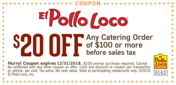 el pollo loco coupons catering