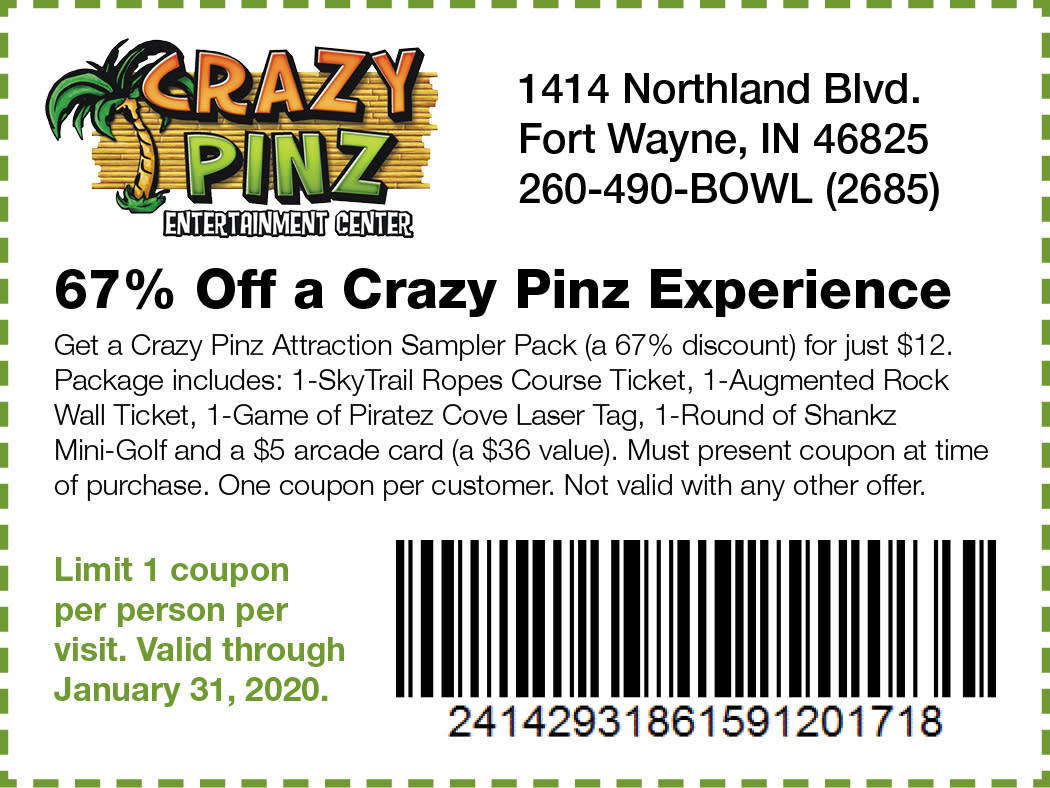 picture regarding Crazy 8 Printable Coupon identify 67% Off Mad Pinz Working experience