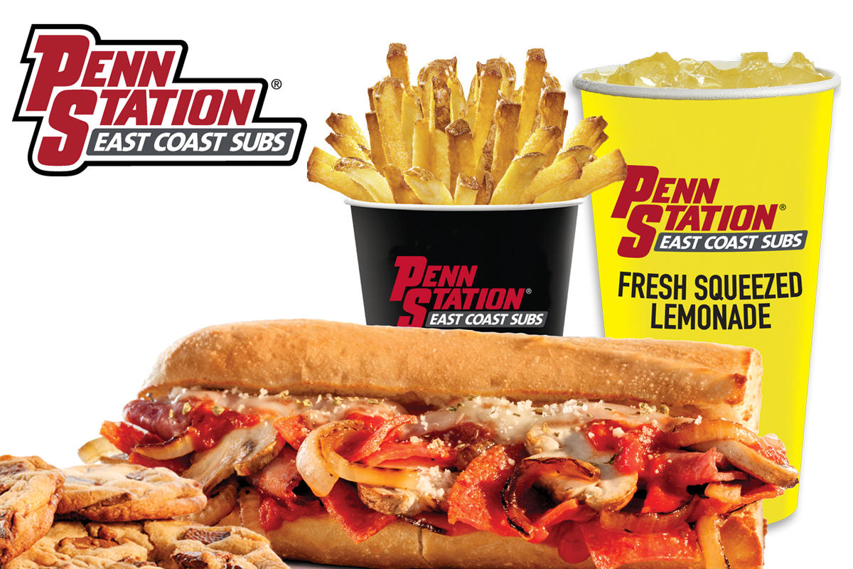 graphic about Penn Station Printable Menu titled Penn Station East Coastline Subs - Illinois Street