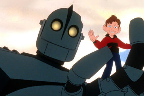 Giant robot with a cartoon boy standing in his hand