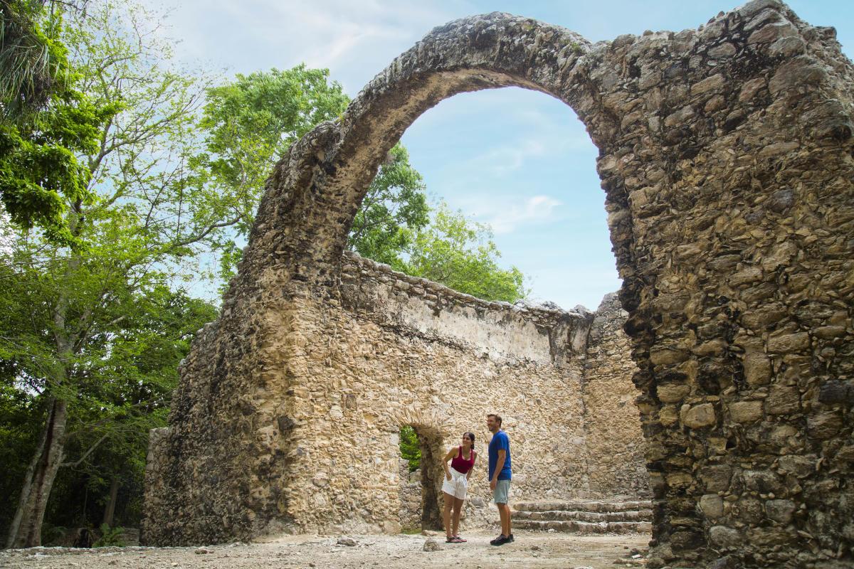 Zona arqueológica de Oxtankah en Chetumal.
