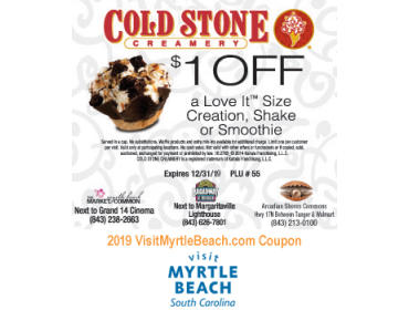 image relating to Cold Stone Printable Coupons named Myrtle Seaside, SC Eating Discount coupons towards Print