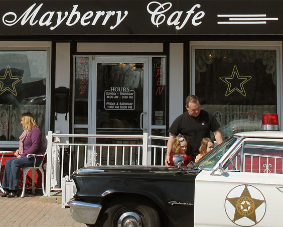 Mayberry Cafe   Exterior with car