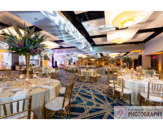Reception Decor and Lighting at Embassy Suites Plainfield Indiana