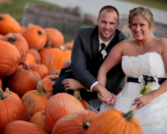 Outdoor Fall Wedding Photos with Pumpkins at Beasley's Orchard