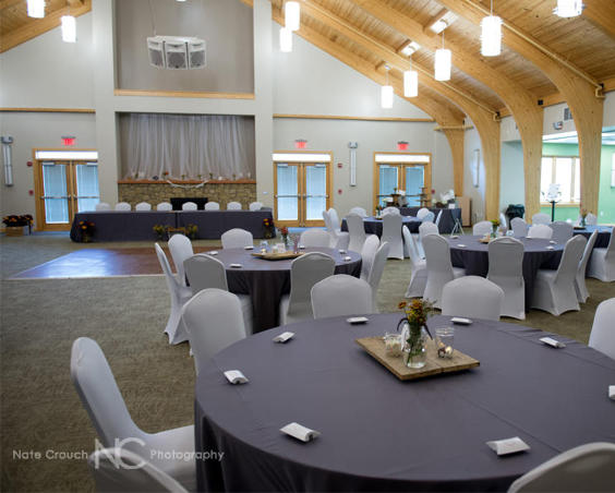 Indoor Wedding Reception Setup at Washington Township Park Pavilion Center by Nate Crouch
