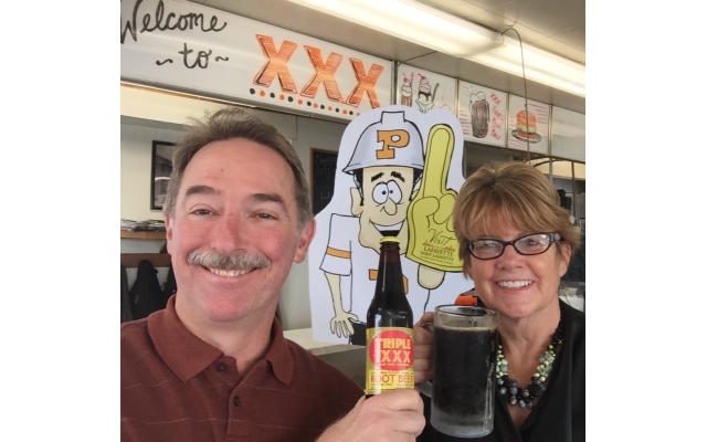 Greg and Carrie with Purdue Pete and Root beer