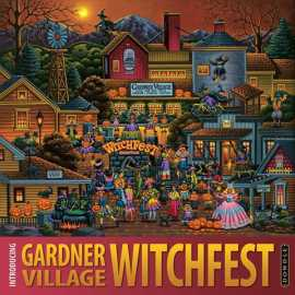 Artist Eric Dowdle's painting of WitchFest at Gardner Village