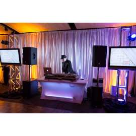DJ with stage, video, lighting and audio set up